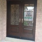 Wrought Iron Woodgrain Fiberglass Double Doors Installed by Windows and Doors Torontoin Thornhill