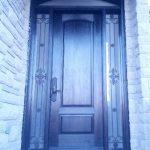 Custom Fiberglass Door with 2 ironart side lites and transom installed in Newmarket by windowsanddoorstoronto.ca