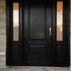 Custom Fiberglass Doors- Wood Grain Fiberglass Door with 2 Side lites installed in Toronto by windowsanddoorstoronto.ca