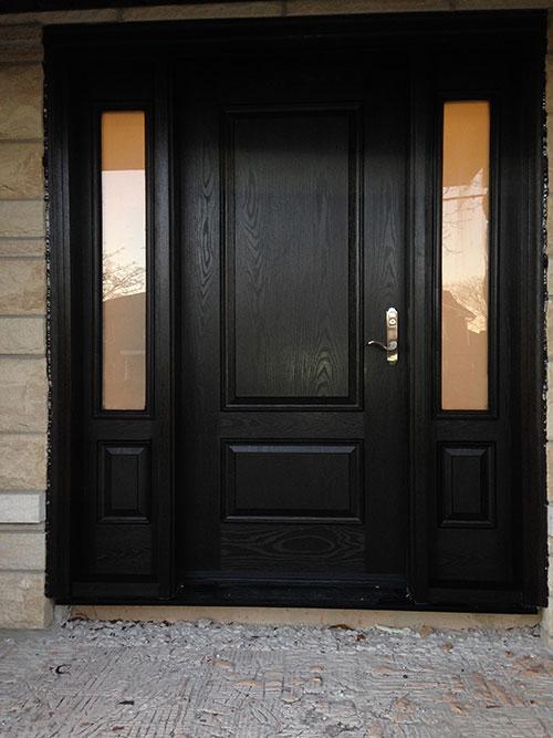 Custom Fiberglass Doors- Wood Grain Fiberglass Door with 2 Side lites installed in Toronto by windowsanddoorstoronto.ca