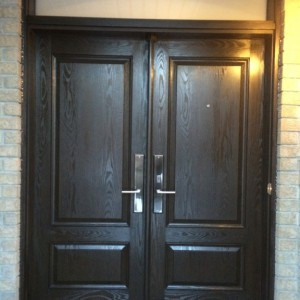 Custom doors-woodgrain Fiberglass doors with Transom installed in Thornhill by windowsanddoorstoronto.ca