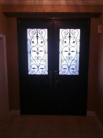 Fiberglass Wrought Iron Door with multi point locks installed in Richmond Hill by windowsanddoorstoronto.ca-Inside View