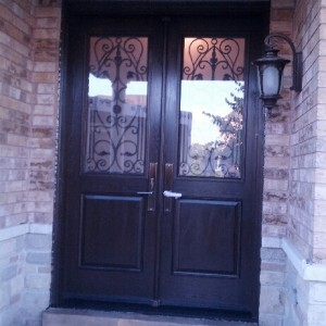 Fiberglass Wrought Iron Door with multi point locks installed in Richmond Hill by windowsanddoorstoronto.ca-Outside View
