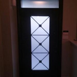 Fiberglass door-Fiberglass Excaliber Design wth frosted glass installed in Thornhill by windowsanddoorstoronto.ca-Inside View