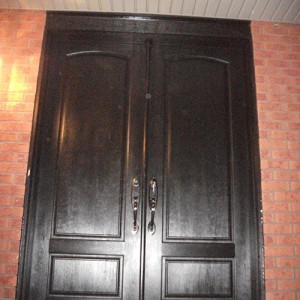 Wood Grain Double Doors with Multi Point Locks Installed by Windows and Doors Toronto