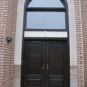 Wood Grain Double Doors with Transom and Multi Point Locks Installed by Windows and Doors Toronto