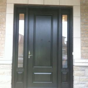 Wood Grain Fiberglass Door With 2 Side Lites Installed by Windows and Doors Toronto