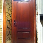 Wood Grain Fiberglass Door with Iron Art Design Side Lite Installed by Windows and Doors Toronto