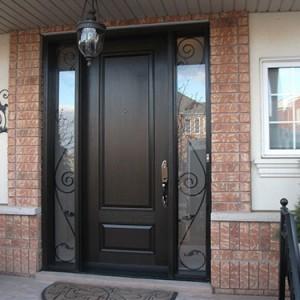 Wood Grain Single Door with 2 Iron Art Side Lites - Outside View Installed by Windows and Doors Toronto