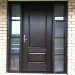 Wood Grain Solid Door with Frosted Glass Side Lites Installed by Windows and Doors Toronto