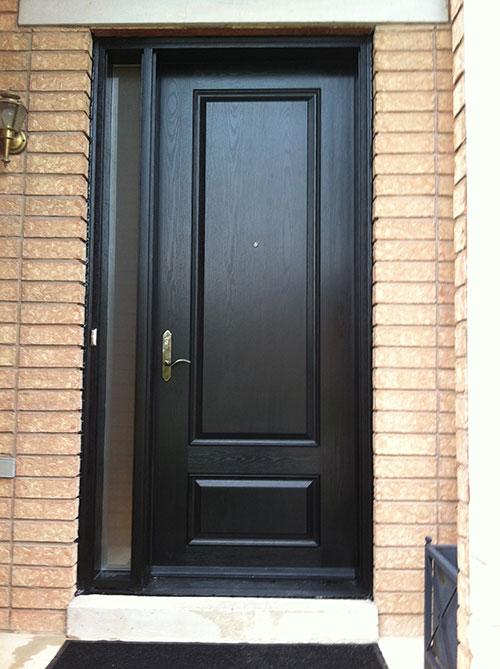 Wood Grain Solid Door with Side Lite Installed by Windows and Doors Toronto