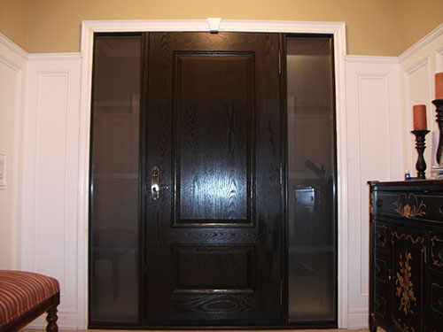 Wood grain Entrance Door with 2 Side Lites-Inside View Installed by Windows and Doors Toronto