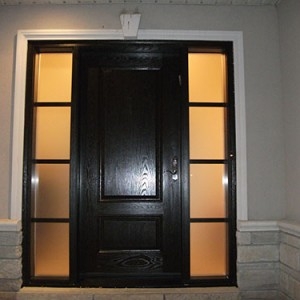 Wood grain Entrance Door with 2 Side Lites Installed by Windows and Doors Toronto