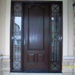 Wood grain Fiberglass Door, 8 foot Door with 2 side Lites- Iron Art Design Installed by Windows and Doors Toronto in Newmarket