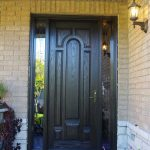 Wood grain Fiberglass Door with 2 Iron Art Side Panel Lites Installed by Fiberglass Doors in Brampton