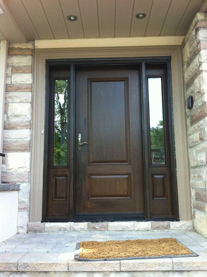 Wood grain Fiberglass Door with 2 Side Lites Installed by windows and doors toronto in Oshawa