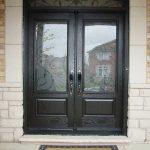 Wood grain Fiberglass Doors, Iron Art Glass Design front Door with Nice Matching Arch Transom Installed by Windows and Doors Toronto