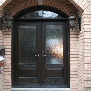 Wood grain Fiberglass Doors, Stained Glass Double Doors with Arch Transom Installed by Windows and Doors Toronto