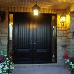 Wood grain Fiberglass Doors with Rustic and 2 Side lites installed by Windows and Doors Toronto in Richmondhill Ontario