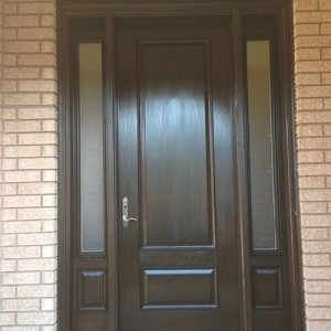Wood grain Fiberglass Single Door with 2 Side Lites installation by Windows and Doors Toronto