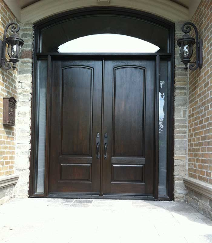 Wood grain Fibergllass Doors with 2 Side lites and Matching Arch Ransom Installed by Windows and Doors Toronto in Richmondhill Ontario