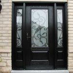 Wood grain Glass Design Door with 2 Iron Art Side Lites installed by Windows and Doors Toronto in Orillia