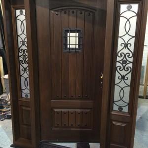 Woodgrain doors, Rustic Fiberglass Door-Custom Fiberglass Doors with 2 side lite Installed in Berlington by windowsanddoorstoronto