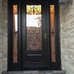Wrought Iron Fiberglass Door with 2 side lites installed in Oakville by windowsanddoorstoronto.ca