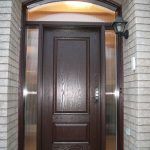 wood grain exterior door with 2 side lites and arch transom Installed by Windows and Doors Toronto