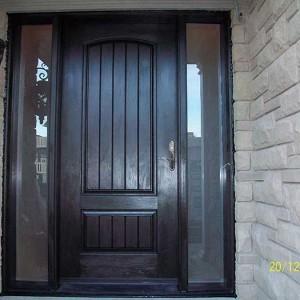 woodgrain fiberglass doors,Custom fiberglass doors, 8ft fiberglass Doors, Executive fiberglass doorsCustom Fiberglass Doors with 2 side lite Installed in Oakville by windowsanddoors