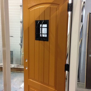 Fiberglass Rustic Door-Front Entry Door with Easyspeak Medieval Design During Manufacturing by windowsanddoorstoronto.ca