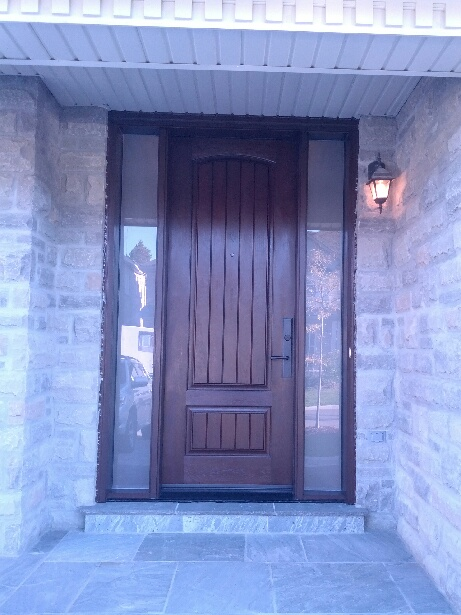 Fiberglass Door-Front Door-Rustic Exterior 2 panel Door with 2 Frosted Backing Side Lites & multi point locks installed in Toronto