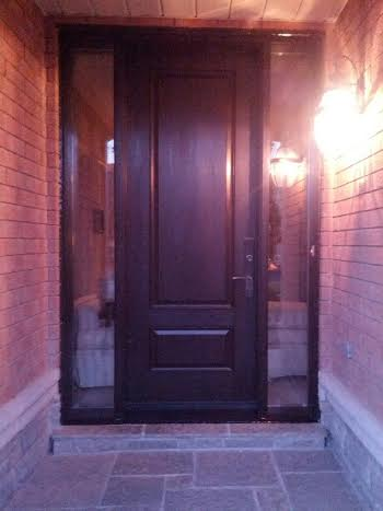 Executive Fiberglass Door-2 panel fiberglass door with frosted glass backing and 2 side lites installed in Thornhill by www.windowsanddoorstoronto.ca