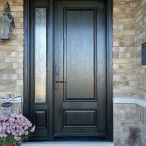 Executive Fiberglass Door-2 panel fiberglass door with frosted glass backing and side lite installed in Richmond Hill by www.windowsanddoorstoronto.ca