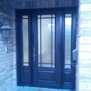 Fiberglass Door-2 panel fiberglass door with frosted glass backing and 2 side lites installed in Oakville by www.windowsanddoorstoronto.ca