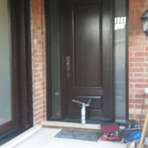 2 Panel Wood Grain Fiberglass Door with 2 side lites by Windows and Doors Toronto