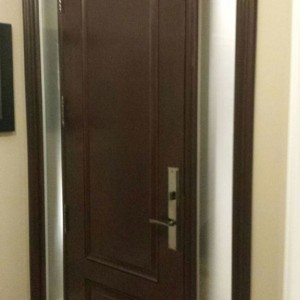 2 Panel Wood Grain Fiberglass Door with 2 side lites by Windows and Doors Toronto-Inside View