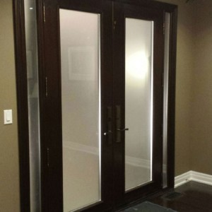 Exterior Double Doors-Wood Grain Doors-Fiberglass Double Doors with Frosted Glass and 2 Side Lites Installed by Windows and Doors Toronto-Inside View