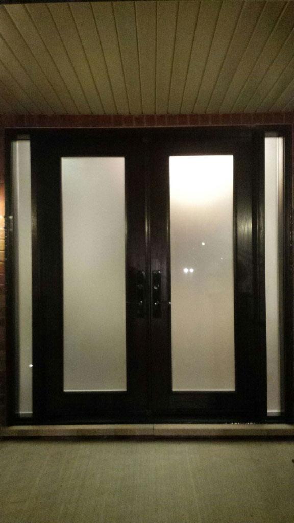 Exterior Double Doors-Wood Grain Doors-Fiberglass Double Doors with Frosted Glass and 2 Side Lites Installed by Windows and Doors Toronto