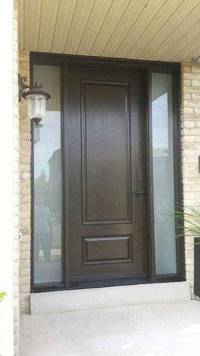 Fiberglass 2 Panel Front Door with 2 Frosted Side Lites installed by windowsanddoorstoronto.ca