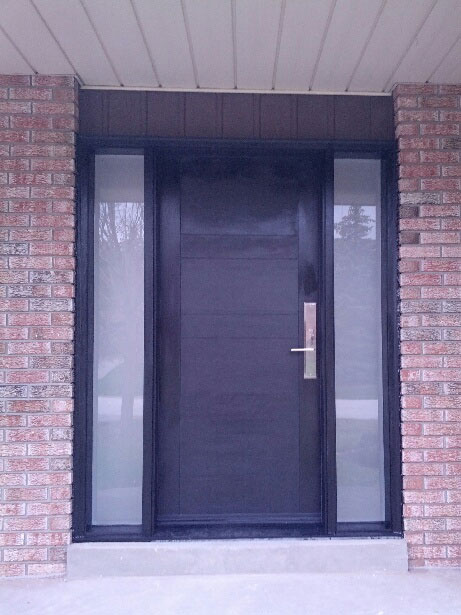 Fiberglass 4 Panel Front Dor with 2 Frosted Sie Lites and Multipoint Locks installed in Thornhill-Ontario windowsanddoorstoronto.ca