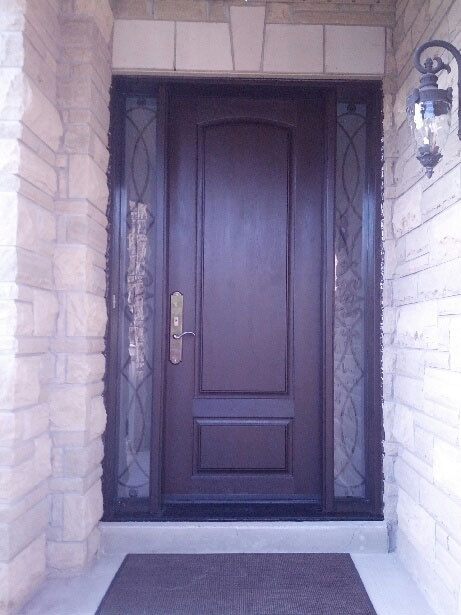 Fiberglass 2 Panel Front Door With 2 Frosted Side Lites
