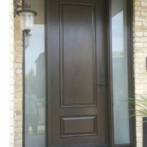2 Panel Fiberglass Exterior Door with 2 Frosted Side Lites and Multi Point Locks installed in Toronto
