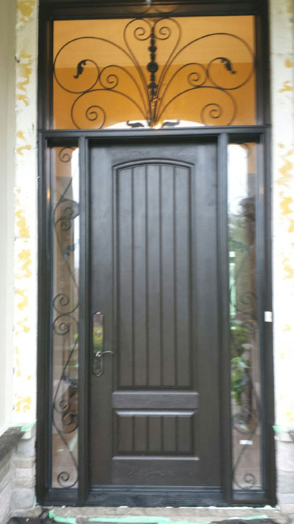 Rustic Front Entry Door with 2 Iron Art Side Lites and Transom