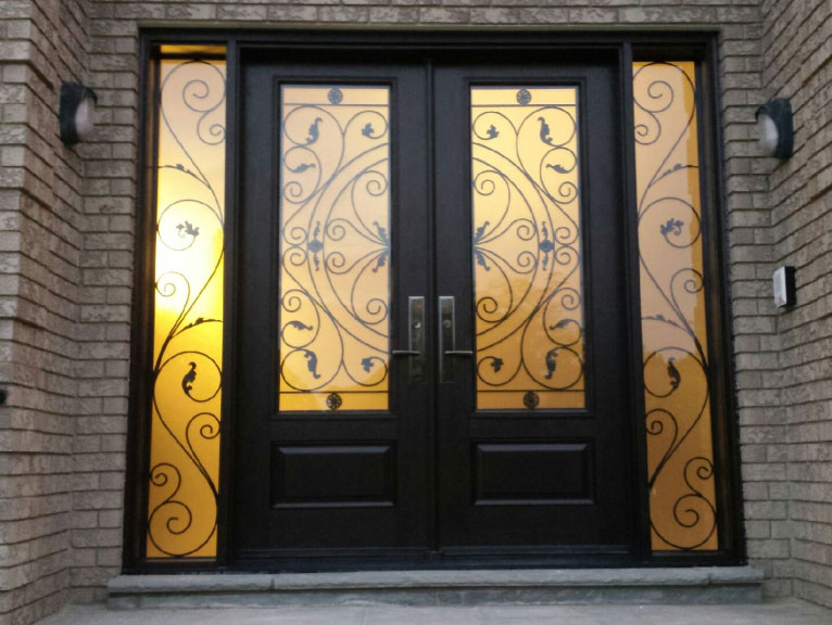 Wrought Iron Fiberglass Doors with 2 side lites and multi point locks installed in Richmond Hill