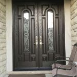 Custom Fiberglass 8 Panel Doors with 2 Door Lites and Arched Transom Installed by Windows and Doors Toronto