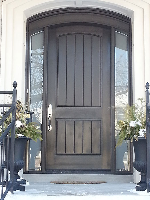 Fiberglass Arched Door with 2 Side Lites and Multi Point Locks Installed in Toronto by Windows and Doors Toronto