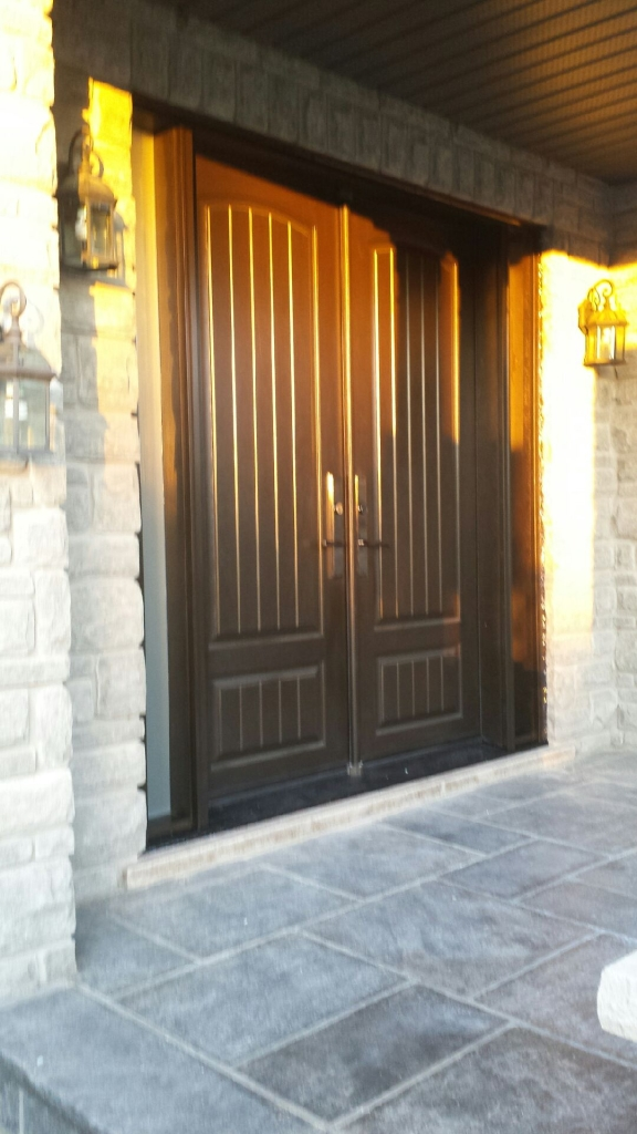 Fiberglass Rustic Double Doors with 2 frosted side lites installed in Richmond Hill by Windows and Doors Toronto-Side View