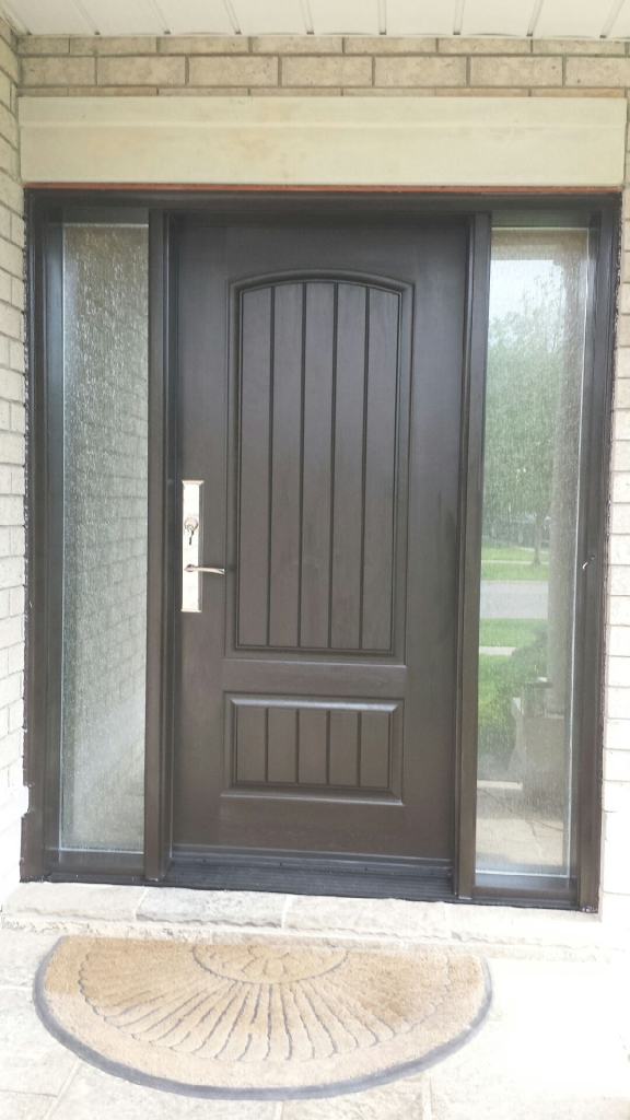 Rustic Fiberglass Exterior Door with 2 Frosted Side Lites installed in Toronto Fiberglass Rustic Double Doors with 2 frosted side lites installed in Richmond Hill by Win