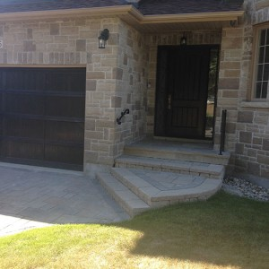 Single Rustic Fiberglass 2 Panel Door with 2 frosted Side Lites installe in Etobicoke by Windows and doors Toronto